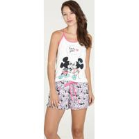 Pijama Feminino Short Doll Estampa Mickey Minnie Disney