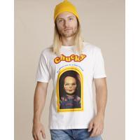 Camiseta Masculina Chucky Manga Curta Gola Careca Branca