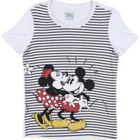 Blusa Infantil Disney Manga Curta - Feminino-Branco