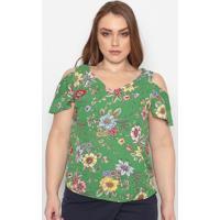 Blusa Floral Com Vazados - Verde & Amarela- Maclumaclu