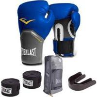Kit Everlast Luva Pro Style Elite + Bandagem Preta (3,05 Metros) + Protetor Bucal Simples - Unissex