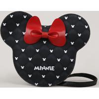 Bolsa Infantil Minnie Com Laço Preta