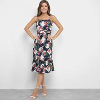 Vestido Lily Fashion Midi Evasê Floral - Feminino-Marinho