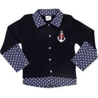 Casaco Infantil Para Bebê Menino - Azul Marinho