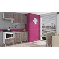 Cozinha Compacta Modulada Completa Com 4 Módulos Branco/Rústico - Art In Móveis