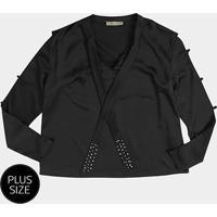 Blusa Heli Amarração Strass Plus Size Feminina - Feminino-Preto