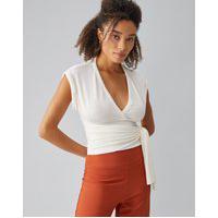 Amaro Feminino Blusa Transpassada Malha Texturizada, Off-White