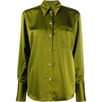 Msgm Blusa Com Botões E Acabamento Em Cetim - Verde