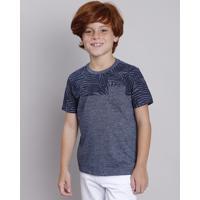 Camiseta Infantil Com Estampa De Folhagem E Bolso Manga Curta Azul Marinho