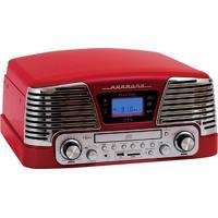 Toca Discos Ctx Harmony Vintage Anos 50 Vermelho 3 Velocidades Fm Cd