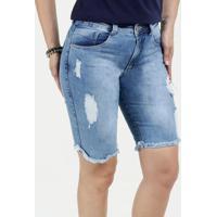 Bermuda Feminina Jeans Destroyed Cintura Média Biotipo