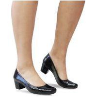 Sapato Bico Fino Salto Baixo Grosso Vermelho Nude Preto 600