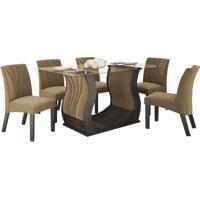 Conjunto De Mesa Fortuna 1.70M Com 06 Cadeiras Malbec Tecido Veludo Pávia Bege Lj Móveis