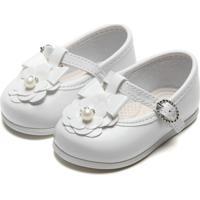 Sapato Pimpolho Menina Flor Branca