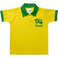 Camiseta Polo Infantil Torcida Baby Brasil Unissex - Unissex