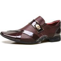 Sapato Social Calvest Artesanal Em Couro Nobuck Com Textura Bordo