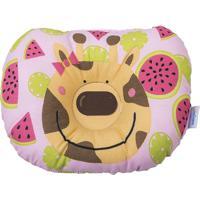 Travesseiro Anatômico Bebê Com Estampa De Girafa - Rosa