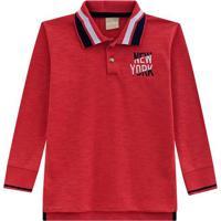 """Polo """"New York"""" Com Fendas - Vermelha & Azul Claromilon"""