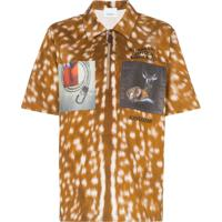 Burberry Bambi-Print Zip-Front Cotton Polo Shirt - Marrom