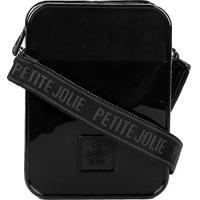 Bolsa Petite Jolie Shoulder Bag Verniz Alça Esportiva Tour Feminina - Feminino-Preto