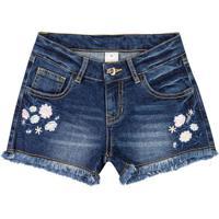 Short Jeans Com Bordados Florais- Azul Escuro & Branco