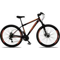 Bicicleta Dropp Aro 29 Freio A Disco Mecânico Quadro 19 Suspensão 21 Marchas Aço Preto Laranja