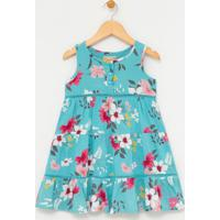 Vestido Infantil Estampado Floral - Tam 1 A 4