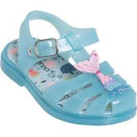 Sandália Infantil Azul Com Glitter E Luzinha
