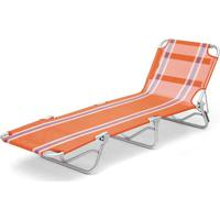 Cadeira Espreguiçadeiratextilene Aluminio Listrada Br/Az Listrado Belfix Laranja