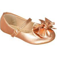 Sapato Boneca Em Couro Metalizada Com Laã§Os- Bronzeprints Kids