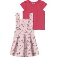 Conjunto De Blusa + Jardineira Floral - Pink & Rosa Clartrick Nick