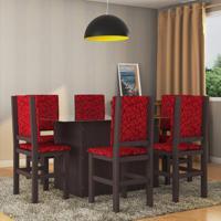 Conjunto De Mesa E Cadeira De Jantar Vidro 160X80 Cm Tabaco Vermelho