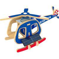 Quebra Cabeça Kuga Desafio 3D Solar Com Motor - Helicóptero Solar - Madeira - P240S - Azul - Kanui