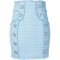 Balmain Saia Cintura Alta De Tweed - Azul