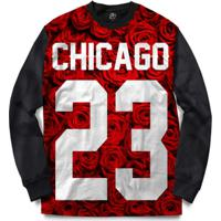 74b6aed6bb Netshoes  Blusa Bsc Chicago 23 Red Rose Full Print - Masculino-Preto