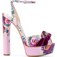 Casadei Sandália Com Bordado Floral - Rosa