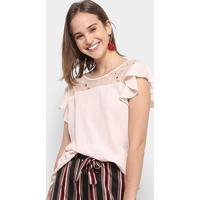 Blusa Chic Up Off Shouder Tule Feminina - Feminino-Bege