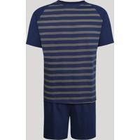 Pijama Masculino Lupo Raglan Listrado Manga Curta Azul Marinho