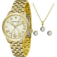 Kit De Relógio Analógico Lince Feminino + Brinco + Colar - Lrgh079L Kv27C2Kx Dourado
