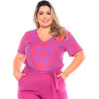 Blusa Estampada Almaria Plus Size Melonica Decote