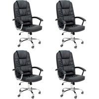 Conjunto Com 4 Cadeiras De Escritório Presidente Finland Preto