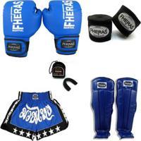 Kit Boxe Muay Thai Trad - Luva Caneleira Bucal Shorts Bandagem - 08 Oz - Unissex