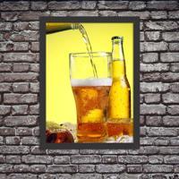 Quadro Decorativo Cerveja Gelada No Ponto Preto - Grande