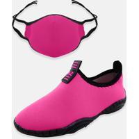 Kit Infantil Tênis Calce Fácil E Máscara Mz Shoes Pink