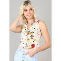 Camisa Feminina Cropped Estampada Floral Sem Manga Kaki Claro