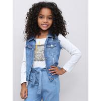 Colete Jeans Infantil Com Rasgos E Strass Azul Médio