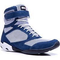 55d71db83da Bota De Treino Masculina Rockfit Overall Em Couro Azul E Branco