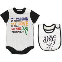 Dolce & Gabbana Kids Conjunto 2 Peças Com Babador E Body - Branco