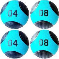 Kit 4 Medicine Ball Liveup Pro 4 E 8 Kg Bola De Peso Treino Funcional - Unissex