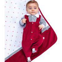 Saída Maternidade Paraiso Plush Com New Soft Estampado Bordô